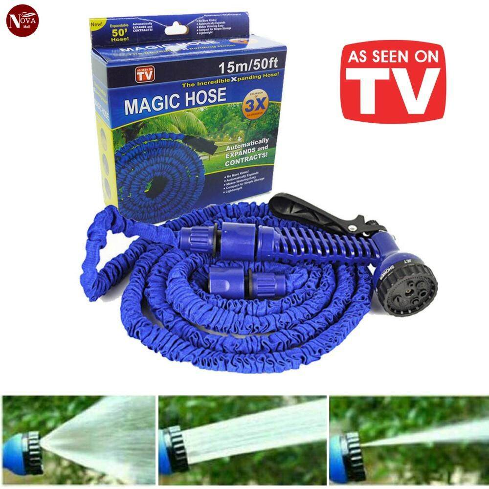 【100FT/30M - Random Color】Magic Hose High Pressure Car Garden Water Pipe Gun Adjustable Flexible Paip Hose
