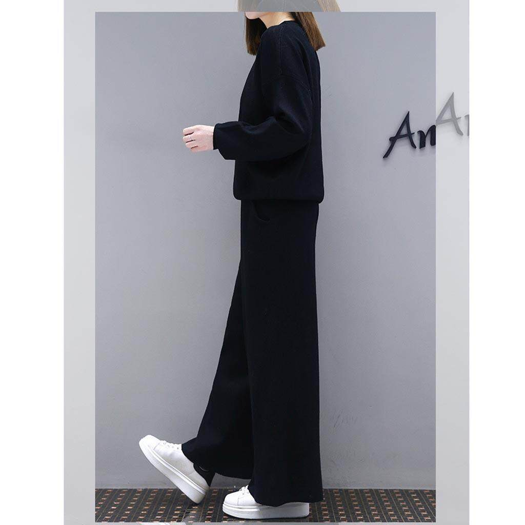 801c87d38 Large Size Female Spring New Fat mm Cover Belly Slim Wide Leg Pants Casual  Suit