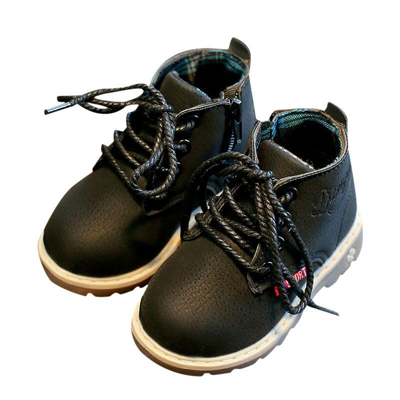 เด็กlow-Top Martinรองเท้าบู๊ตมีซิปด้านข้างชายและหญิงรองเท้าหนัง.