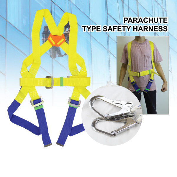 Parachute Type Safety Harness With Double Big Hooks Yellow Blue Ready Stock Full Body Worker Safety Belt