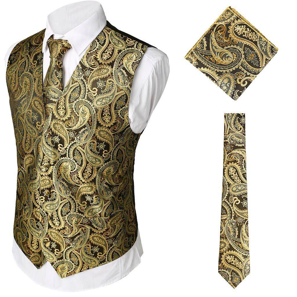 0124e0a994e3 ViviMall 3Pcs Men's Party Wedding Waistcoat Vest Pocket Square Tie Suit Set  Wedding Groom