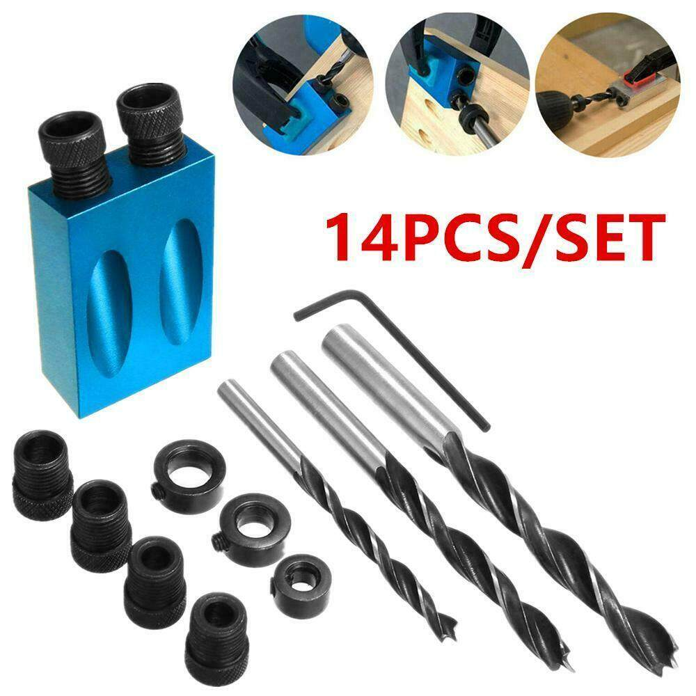 14pcs 15° Pocket Hole Screw Jig with Dowel Drill Carpenters Wood Joint Set Tool