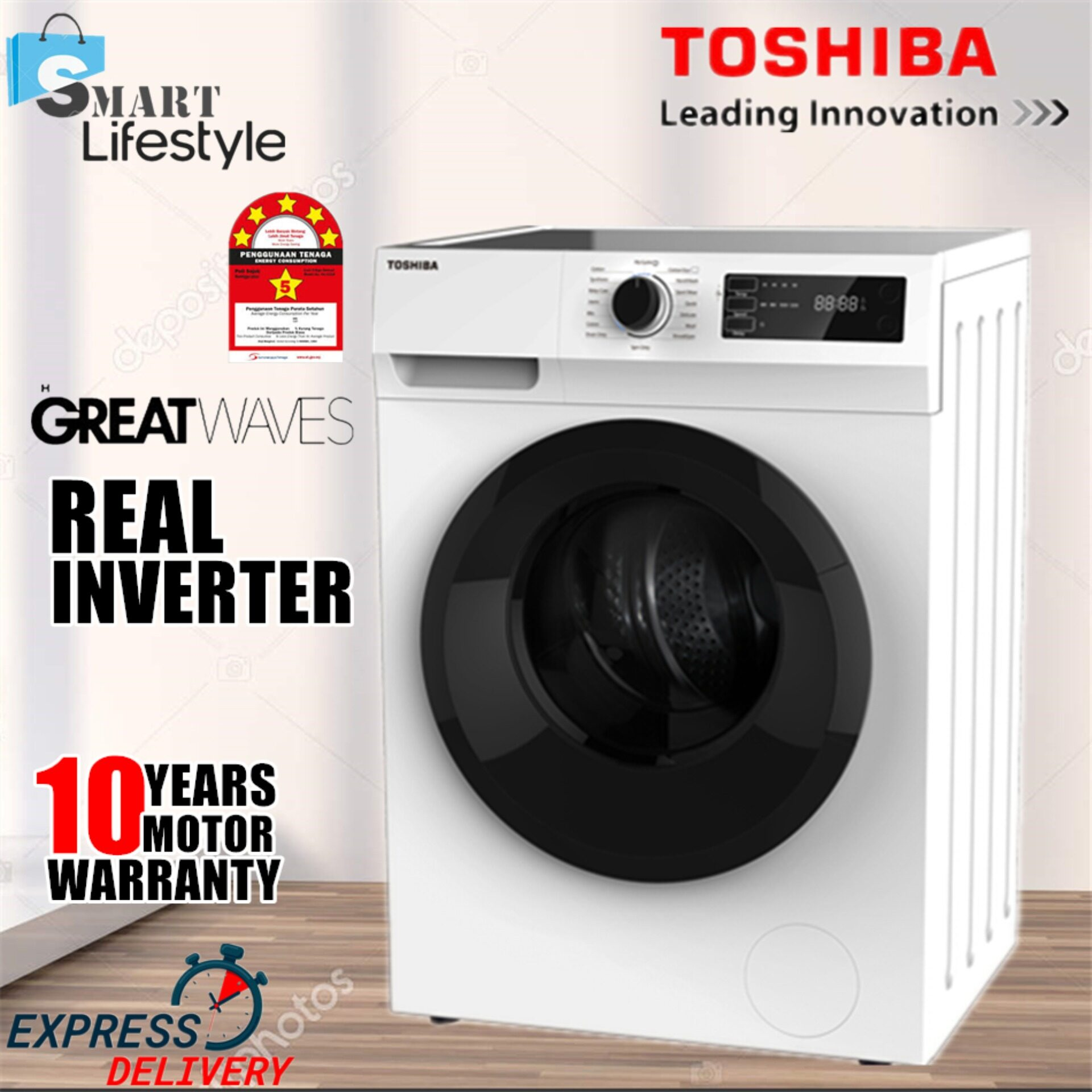 TOSHIBA 7.5KG FRONT LOAD REAL INVERTER TW-BH85S2M WASHING MACHINE 【FREE SHIPPING】 Mesin Basuh