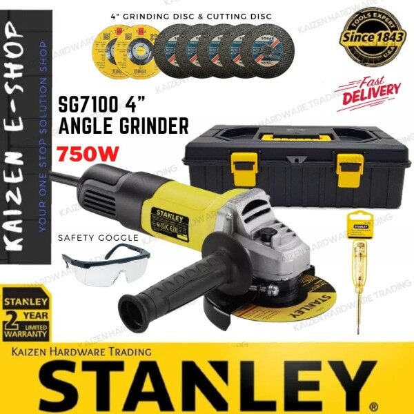 """STANLEY SG7100/STGS9100 750W 4"""" ANGLE GRINDER + Free Gifts"""