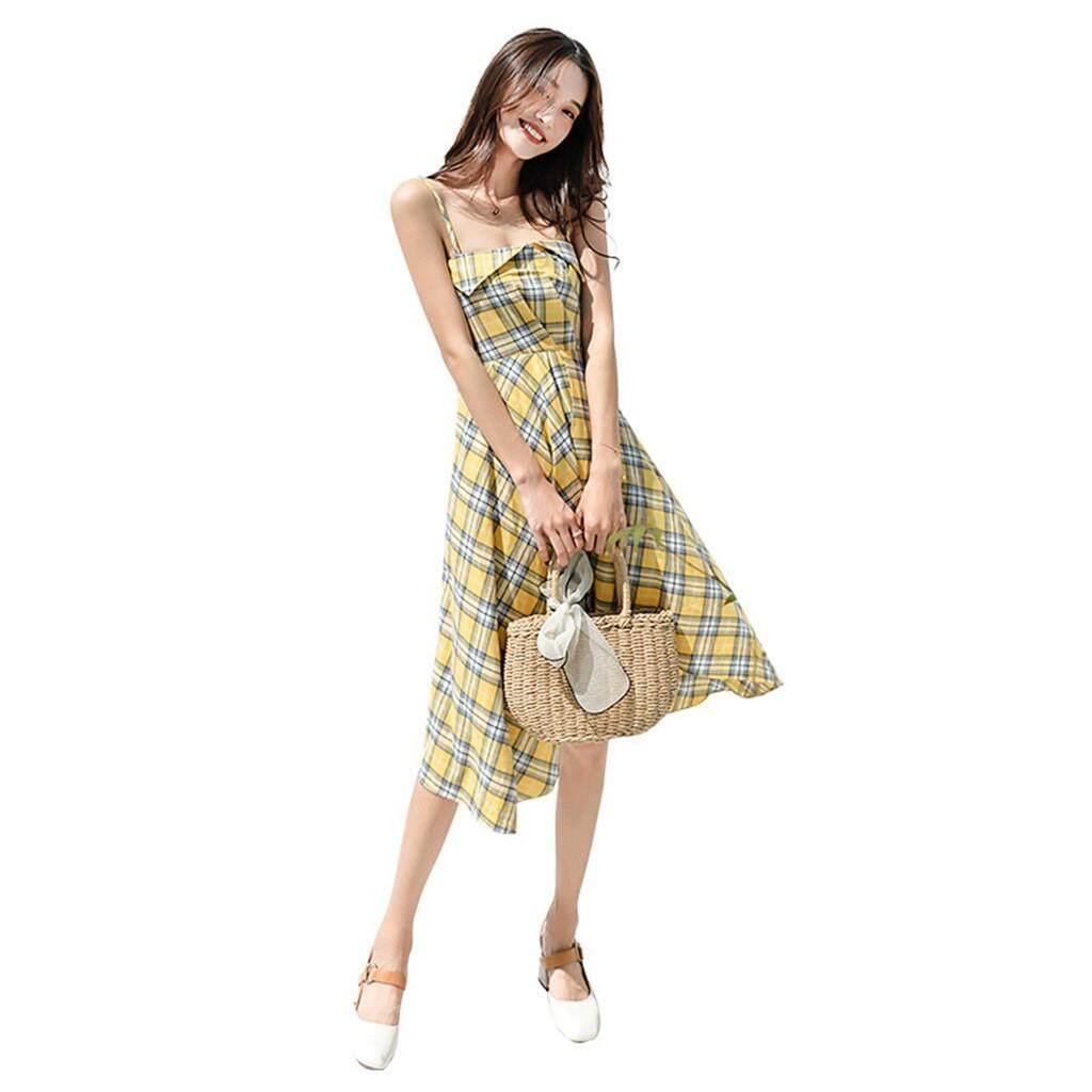 9901dfd5 High-end Plaid Suspender Dress New Chic Dress Woman Summer Waist Slim Dress