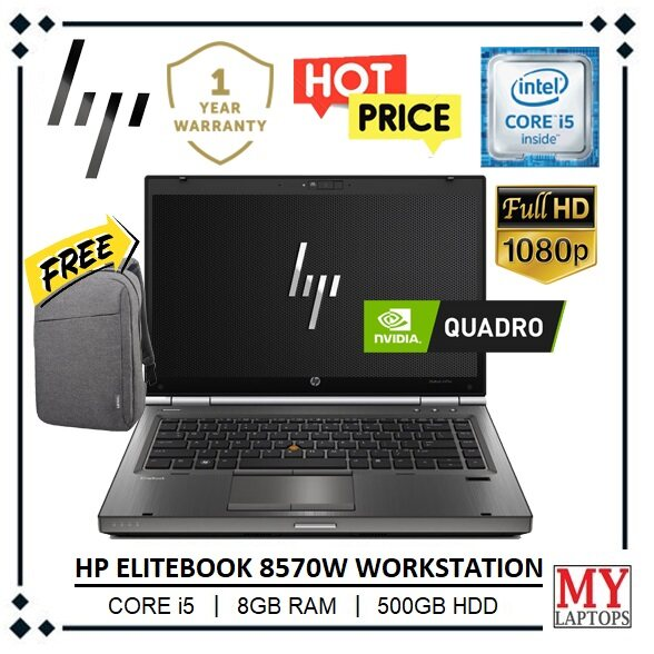 HP ELITEBOOK 8570w SUPERDUTY WORKSTATION [CORE i5 / 8GB RAM DDR3 / 500GB HDD] NVIDIA QUADRO K2000M / FULL HD IPS DISPLAY / 1 YEAR WARRANTY Malaysia