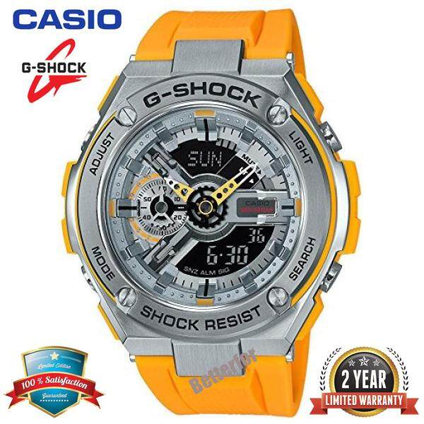 (Free Shipping) Original Casio G Shock_GST-410-9AJF Duo W/Time 200M Water Resistant Shockproof and Waterproof World Time Sports Watch LED Auto Light Wist Sport Stainless Steel Watch for Men with 2 Year Warranty GST410/GST-410 Yellow Silver bán chạy