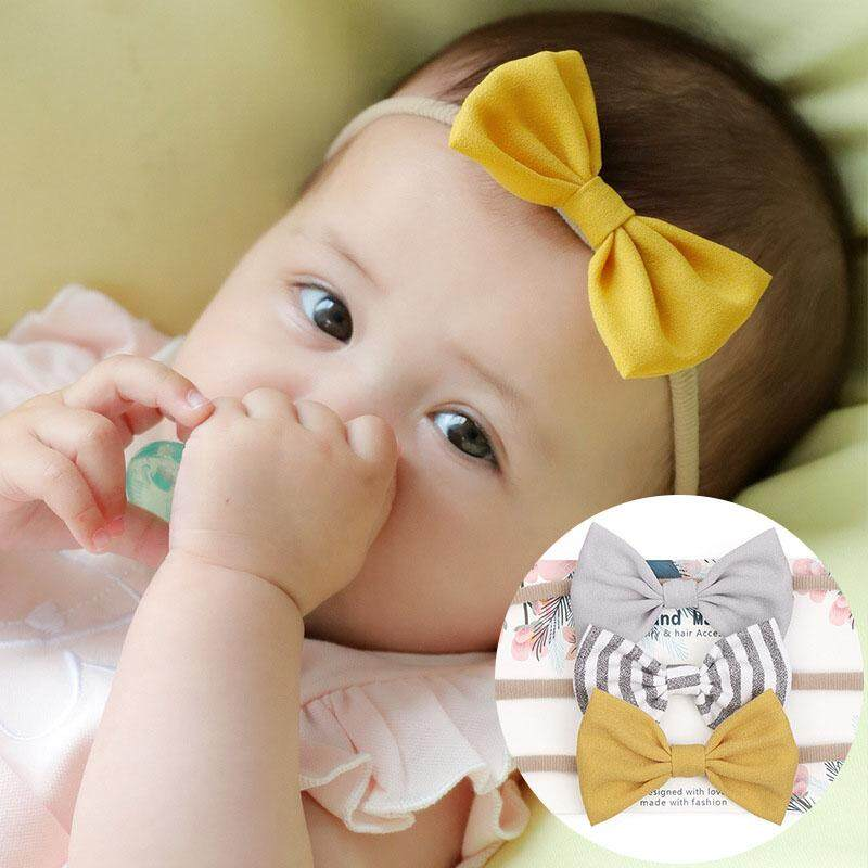 8a3e95362 3Pcs/Set Girls Headbands Flower Bowknot Elastic Kids Cute Hair Bows  Hairband Children Solid Striped