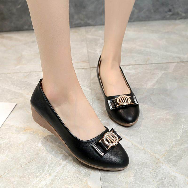 Ladies Womens Wedge Heels Work Office Casual Smart Pointy Toe Court Shoes Size