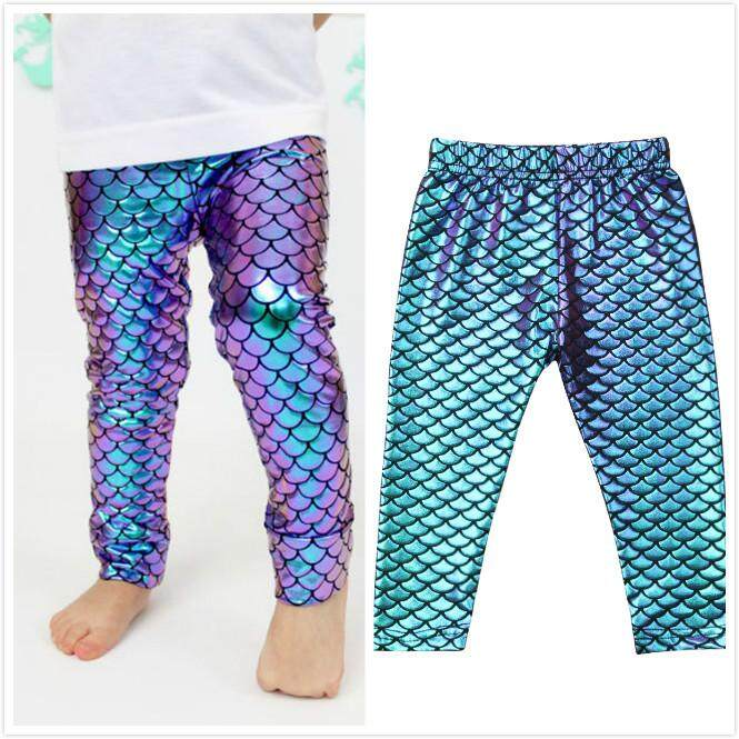 624aa4eab9b7b Cute Kid Baby Girl Skinny Mermaid Fish Scale Long Leggings Pencil Pants  Trousers
