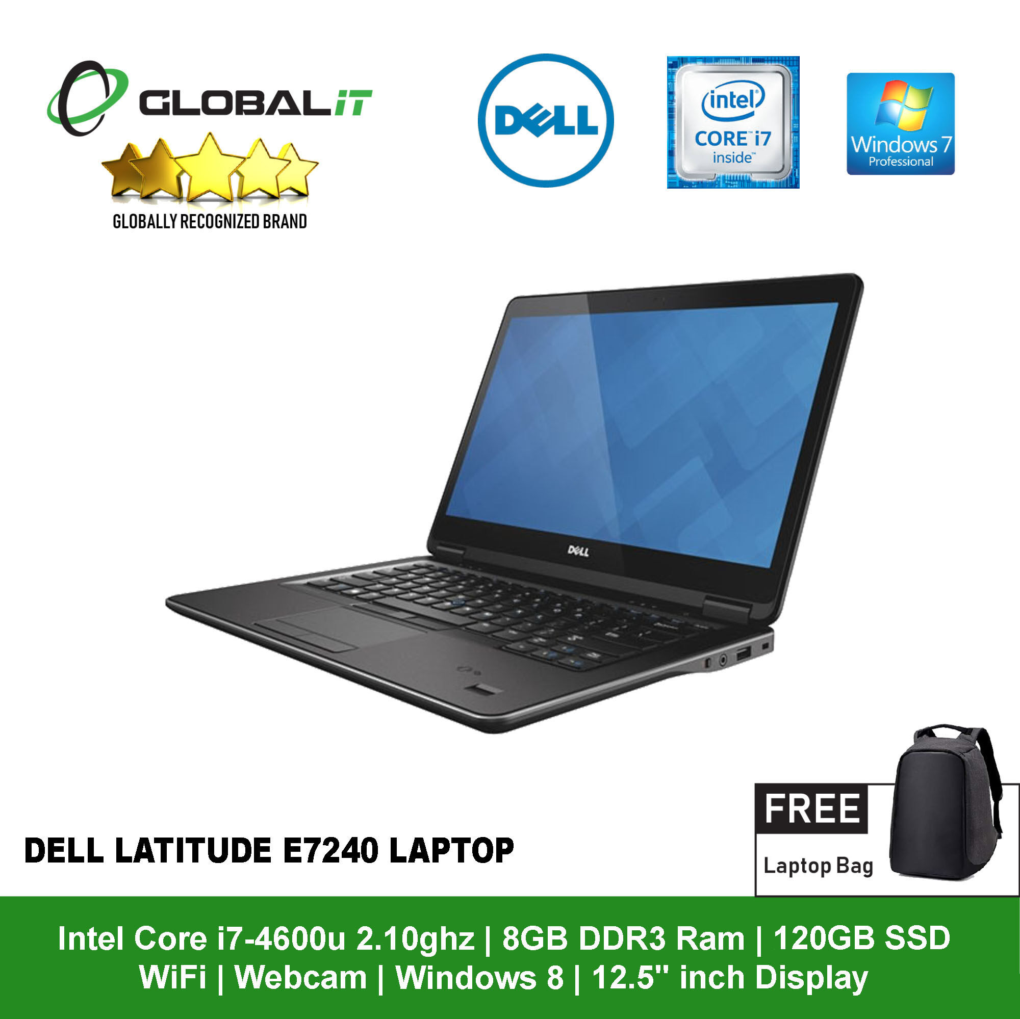 (Refurbished Notebook) Dell Latitude E7240 Laptop / 12.5 inch LCD / Intel Core i7-4600U / 8GB DDR3 Ram / 120GB SSD / WiFi / Windows 7 Professional / Webcam Malaysia