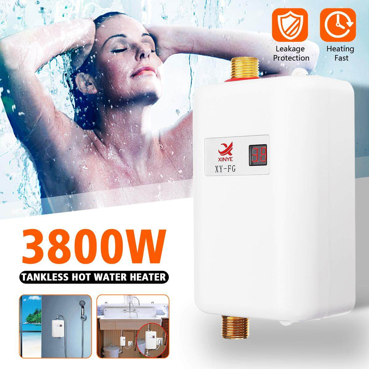 220V 3.8KW Mini Electric Tankless Instant Hot Water Heater for Bathroom Kitchen-EU Plug