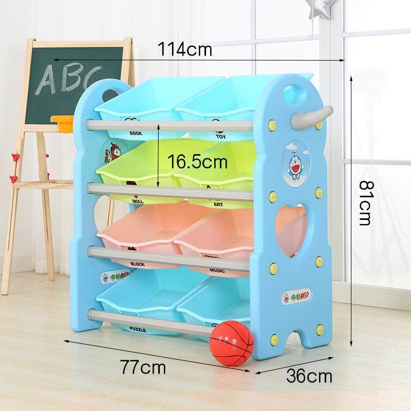 4 Layers Toy Rack with Basketball and Basket Hoop, Bookshelf Childrens Toys Mini Multi-Function Plastic Box, Kids Toy Organizer and Storage Bins, 8-Bins in Fun Colors, Toy Storage Rack