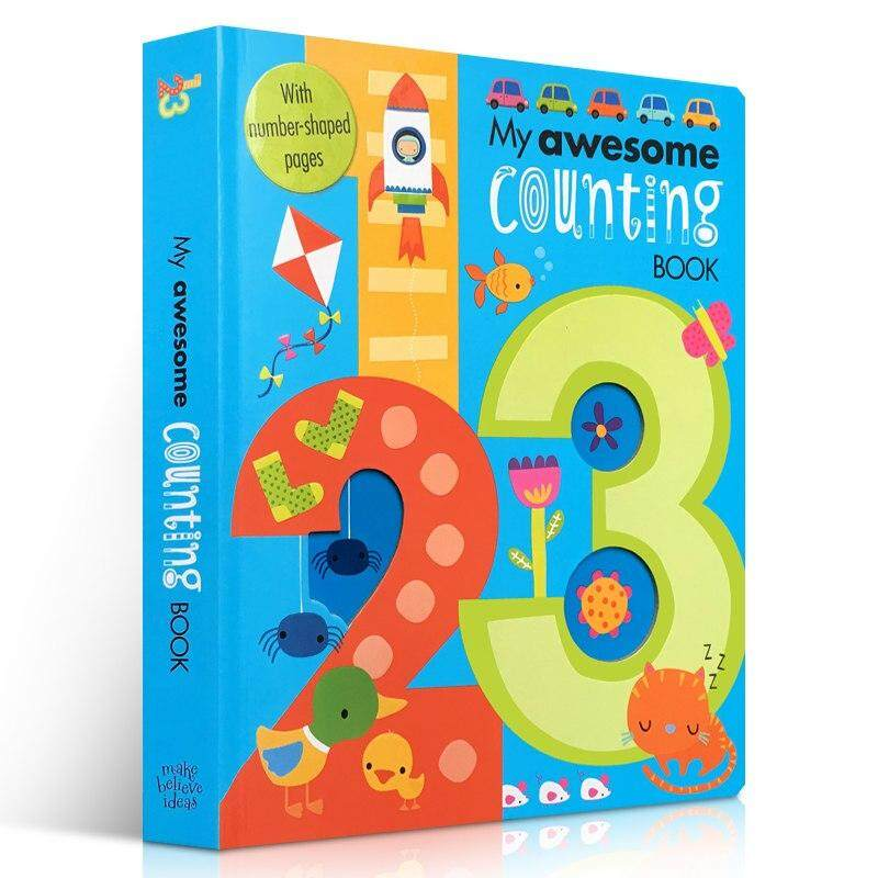 My Awesome Counting Book Original English Cardboard Books Baby Kids Math Learning 123 Educational Book With Number Shaped Pages By Twins Girl.