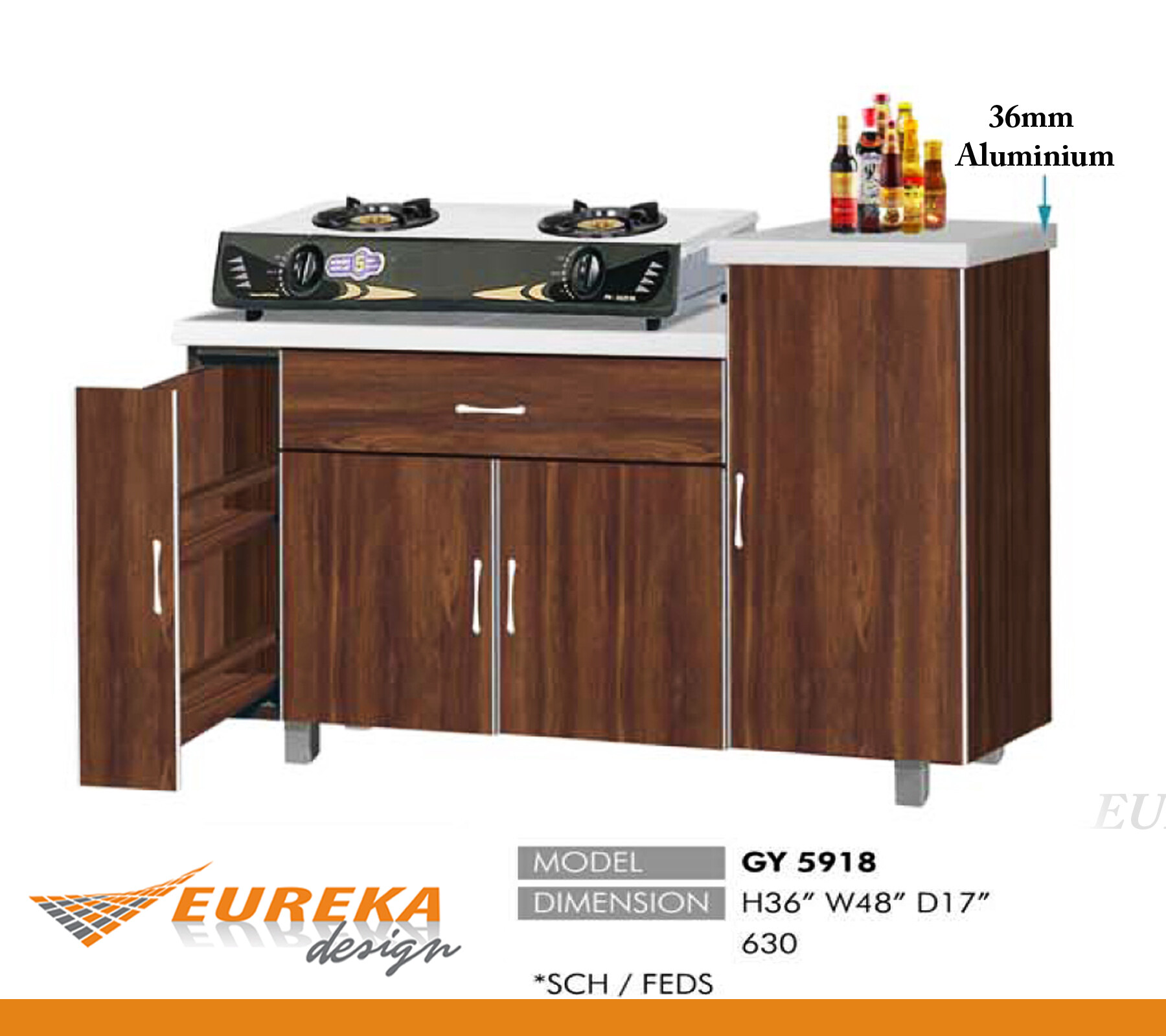 Eureka Design 4ft Gas Kitchen Cabinet Kabinet Dapur Gas Deliver Installation Within Klang Valley Lazada