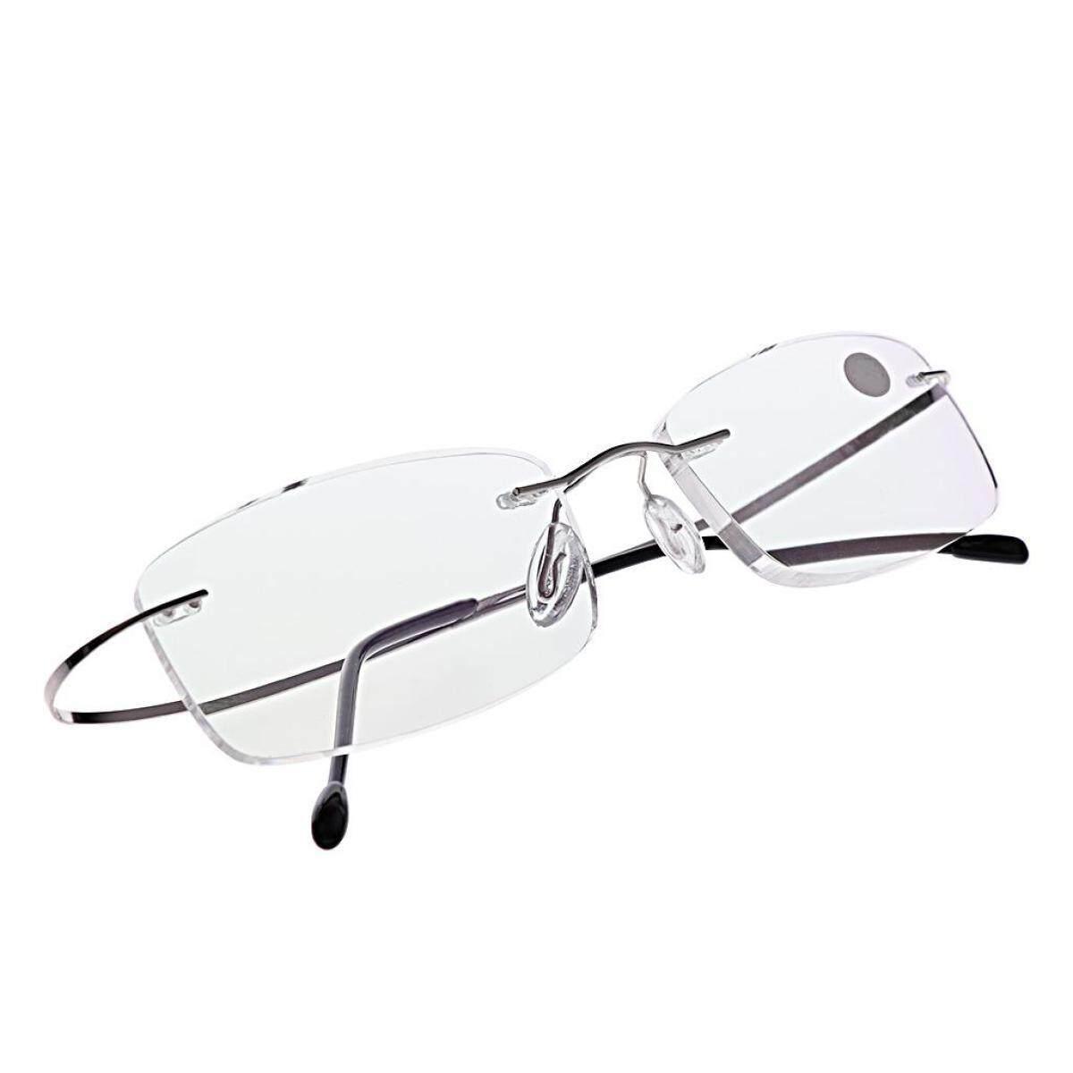 8c86805171 +1.50 Ultralight Titanium Rimless Rectangular Glasses Spectacles Eyeglass  Frame Eyewear(Silver)