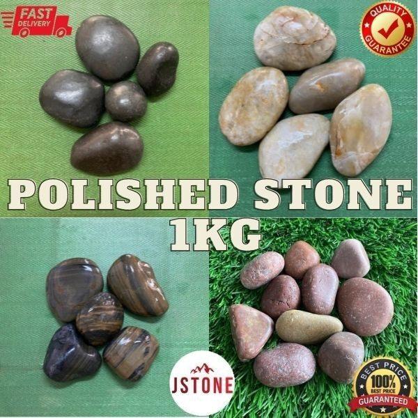 1KG Imported Polished Pebble Gardening Landscape Decor Massage Stone | Batu Hiasan Hitam Refleksologi | Batu hitam kilat