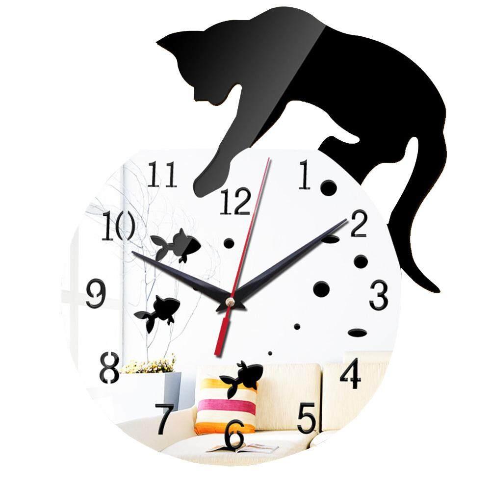 Nơi bán Phòng Ngủ Tắt Tiếng Chạy Nhẹ Acrylic Gương Trang Trí Chống Nước DIY Phòng Khách Mèo Hoạt Hình Đồng Hồ Treo Tường