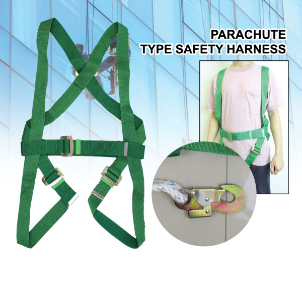 Parachute Type Safety Harness With Double Locking Snap Hook Ready Stock Worker Green Safety Belt