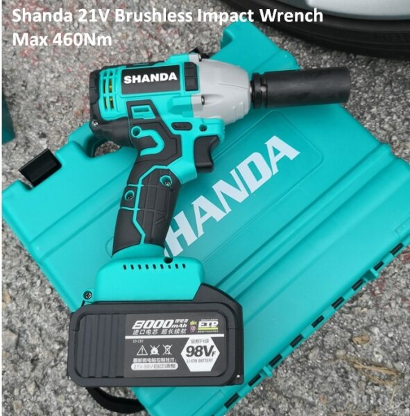 SHANDA 21V 1/2 460NM BRUSHLESS HIGH TORQUE IMPACT WRENCH WITH 2 X BATTERY