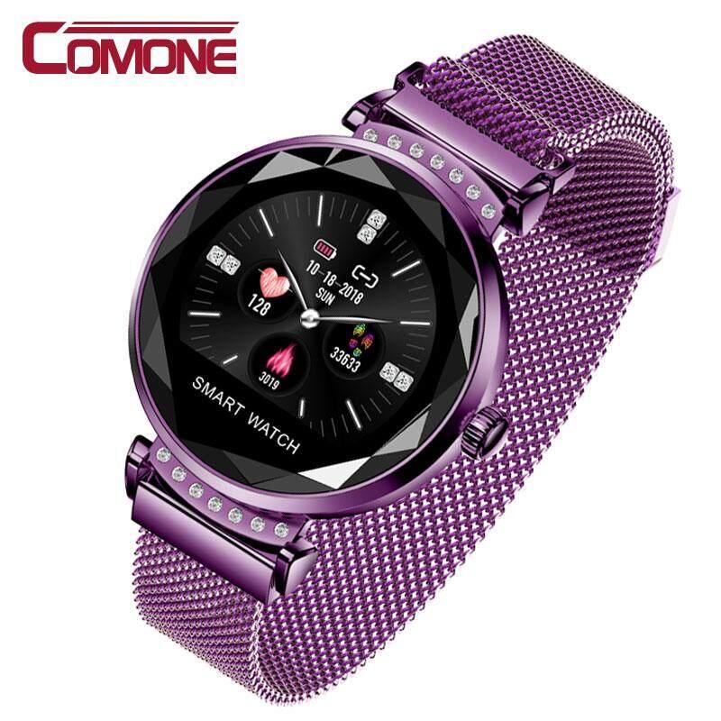 Comone 2019 Terbaru Fashion H2 Wanita Smartwatch 3D IPS Kaca Berlian Heart Rate Tekanan Darah Monitor Tidur Hadiah Terbaik Wanita Jam Tangan Pintar untuk IOS Android