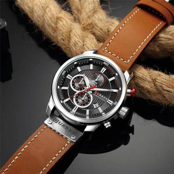 CURREN Luxury Brand Mens Watches 8291 Fashion Quartz Chronograph Men Sports Waterproof Watch Business Casual Leather Wristband Men Watch Malaysia