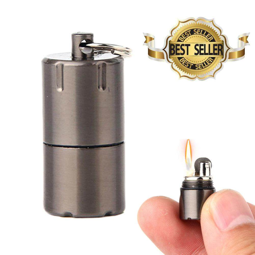 W-Toy Mini Compact Kerosene Lighter Key Chain Capsule Gasoline Lighter  Keychain Outdoor Tool