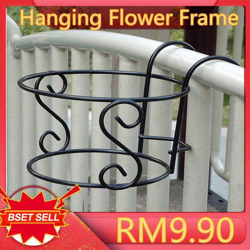 Got It Hanging Flower Frame for Outdoor Fence Decor Balcony Flowerpot Creative Round Flower Pot Railing