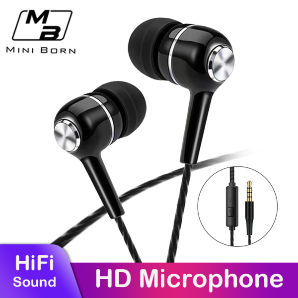 Mini born In-Ear Headphones Earphone Wired Earbuds Sport In Ear Headphone Stereo Headset 3.5mm Jack Wired Cable Music Headphone HIFI Sound Quality No Ear Pain Earphone Headphone with HD Microphone Singapore