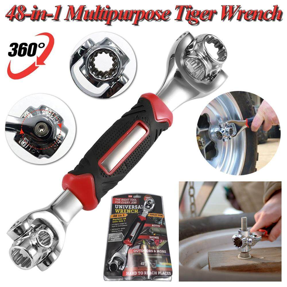 48-in-1 Multipurpose Tiger Wrench Tools Socket Universal Multifunctional Spanner Works with Spline Bolts Torx 360 Degree Rotation 6-Point 12-Point Furniture Car Repair Tool