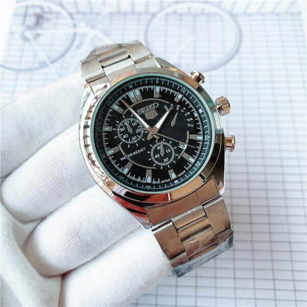 S-eiko silver watch men 5 quartz watch luxury brand waterproof Sport men watch S-E-I-K-O mens stainless steel straps watches seiko5 Malaysia