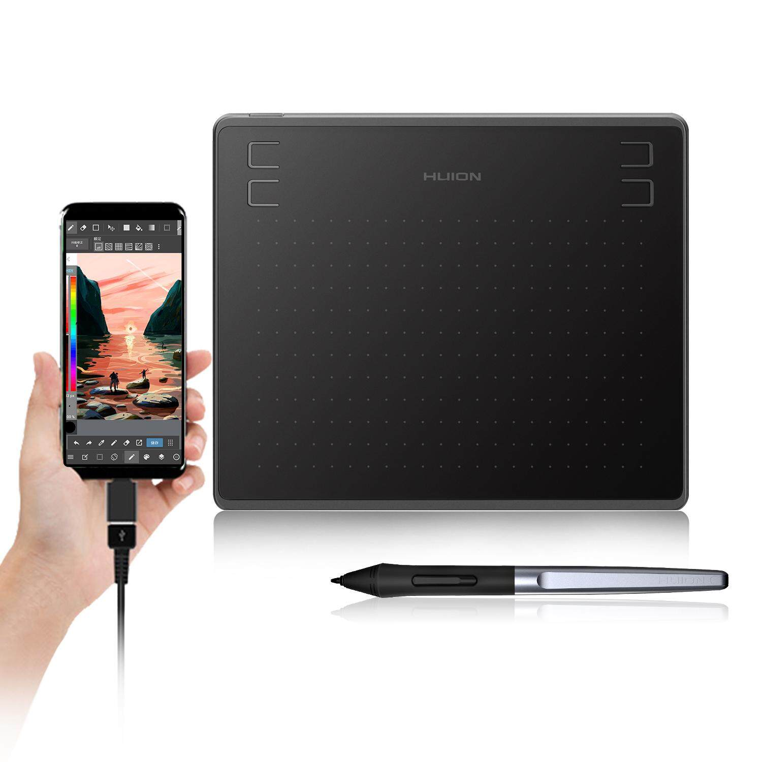 Huion HS64 Digital Graphics Drawing Tablet with Battery-Free Stylus and 4  Express Keys, 8192 Pressure Sensitivity, Compatible with Mac, PC or Android
