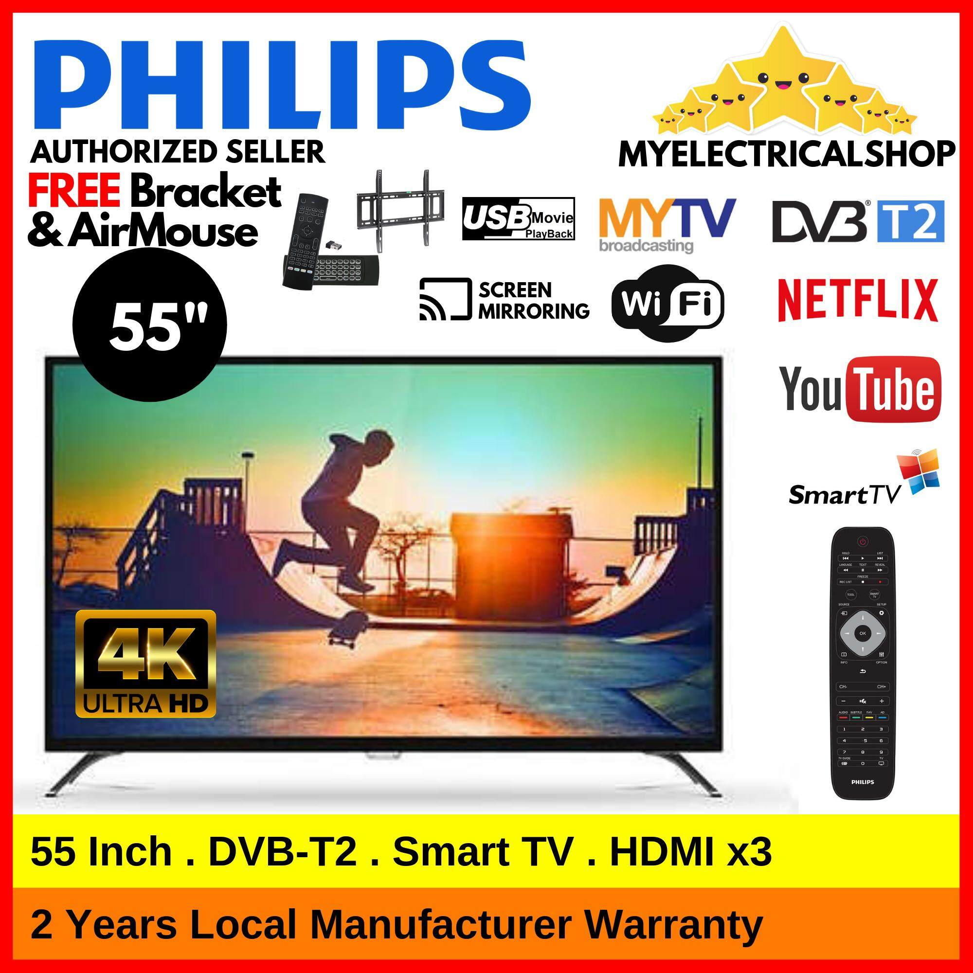 Philips 55PUT6002 / 55PUT6002S Smart TV 55 Inch 4k Ultra HD UHD Can  Received DVB-T2 DTTV IDTV MYTV MYFREEVIEW ( This Month OFFER : FREE TV  Bracket &