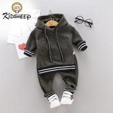 Kidsheep Bộ đồ dài tay trẻ em đồ bé trai Bộ đồ nữ Áo len trùm đầu và quần tây Bộ đồ thể thao mới