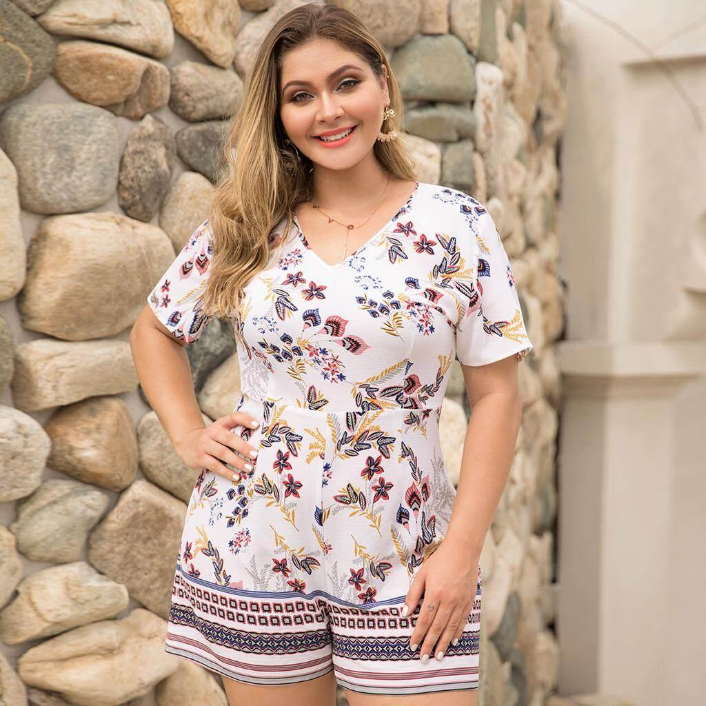 55b38b37af636 Dcoteres Women's Plus Size V-neck Short-Sleeved Waist Wide Leg Print Splice  Jumpsuit