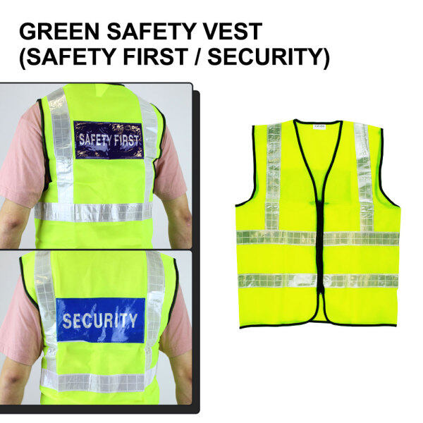 Safety Vest Reflective Strip Coat with Zip Safety First / Security Green Yellow Netting Jaket Keselamatan