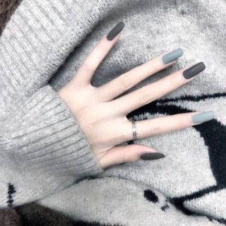 Bộ 24 móng giả đầu vuông màu đen xanh xinh xắn cho nữ - INTL thumbnail