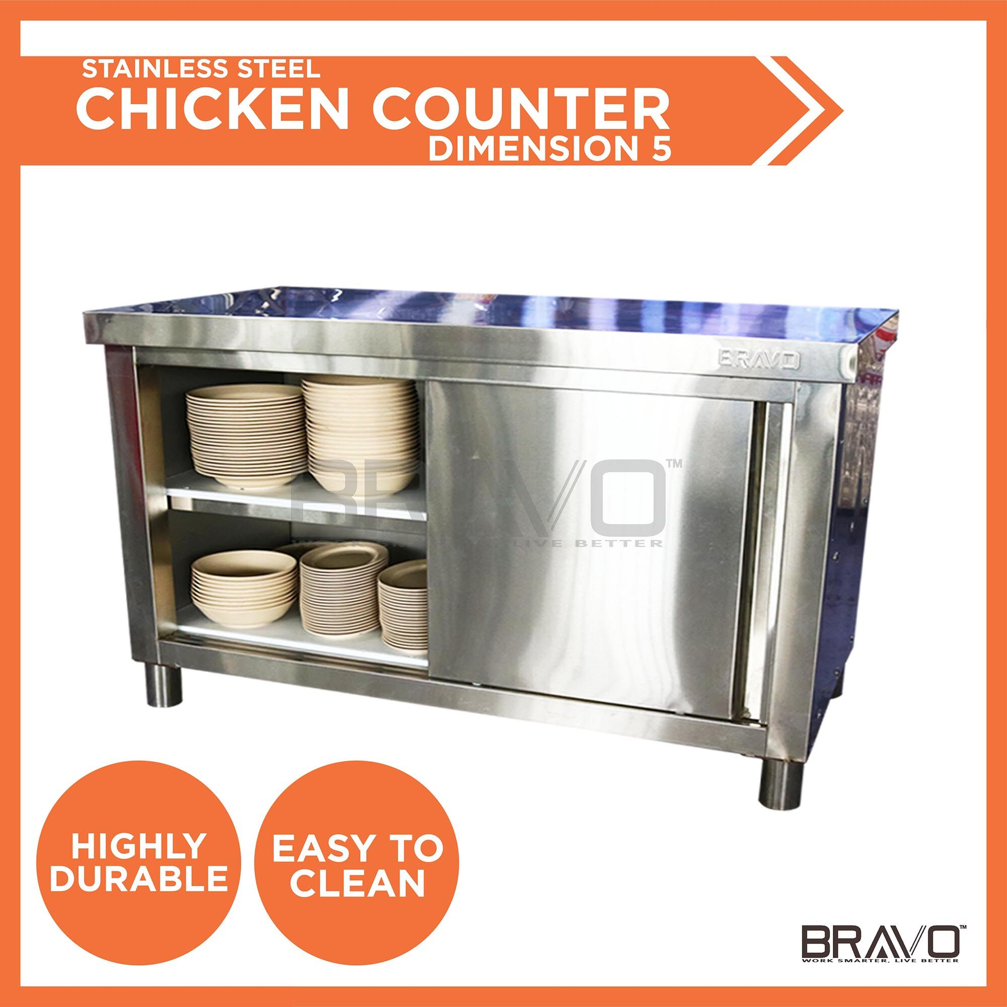 BRAVO [5 FEET] Stainless Steel DIY Cabinet Storage Kitchen Equipment With Sliding Door Very Strong and Sturdy