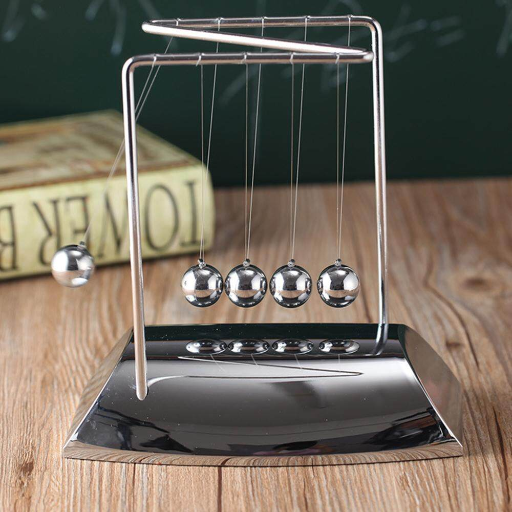 Jnan Newton Cradle Physics Pendulum Science Z-Type Wood of Newton Cradle Art Moving Balance Ball Wave Desk Ornament Educational Toy