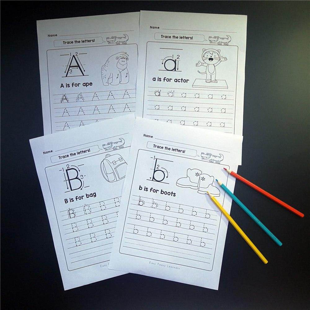 Abc Abc English Learning 26 Letters Alphabets Interactive Activities Worksheet Phonics Book Coloring Home School Workbook Practice Pages Kids Educational Toys Children By La Chilly.