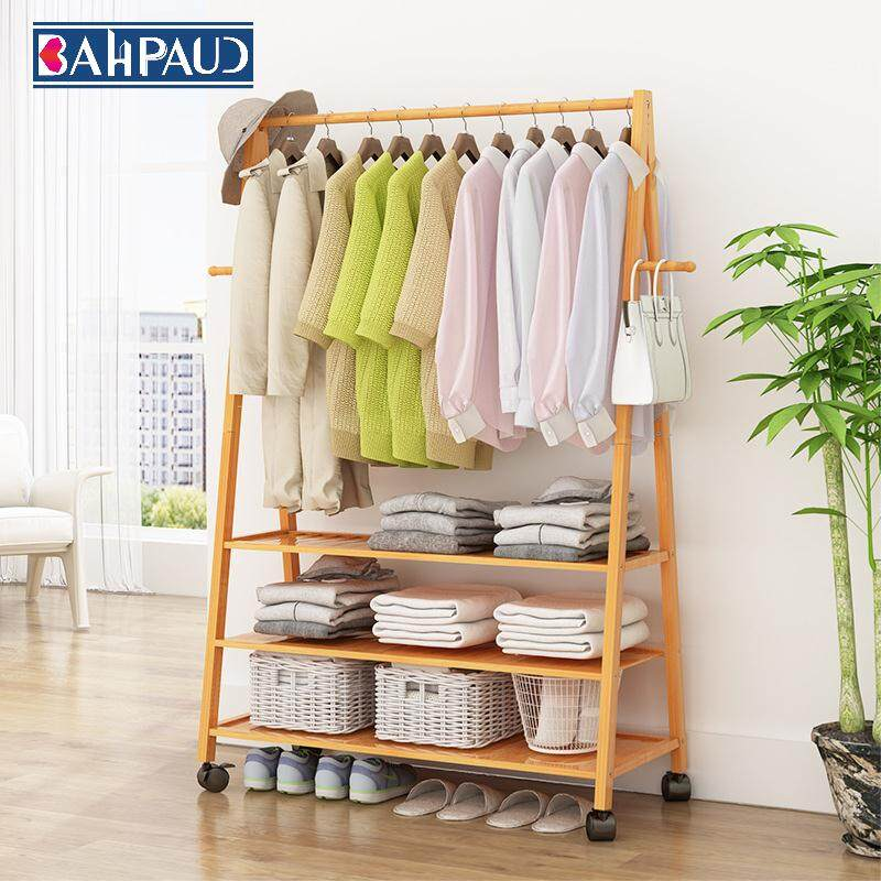 Bahpaud Floor Coat Rack 80*45*165cm Bedroom Living Room Simple Hanger Creative Wooden Hanger Storage Shelf