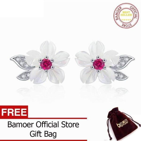 BAMOER MẠ Bông Tai Nữ Bạc Nguyên Chất Vỏ Lá Hoa Bông Bông Tai Thời Trang Phong Cách Hàn Quốc 925 Bộ Trang Sức Bạc 2019 BSE055 tháng 6