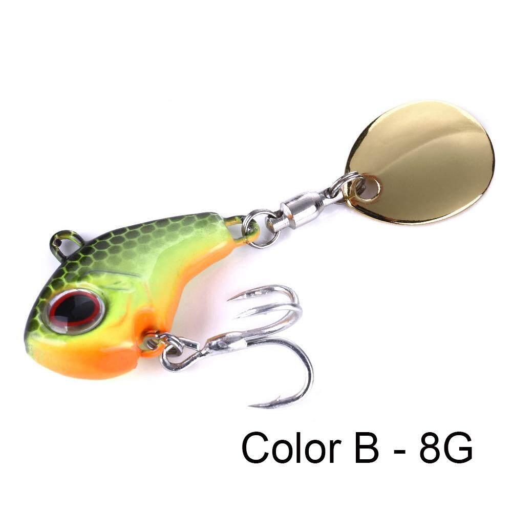 Tackle Rotate Metal Fishing Bait VIB Lure Wobblers Crankbaits Treble Hook