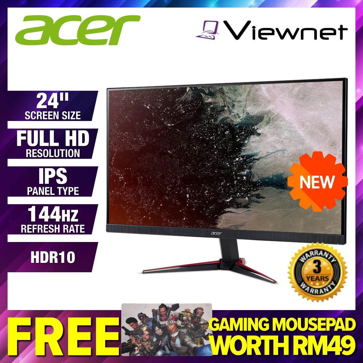 [NEW 2019] Acer Nitro VG240YP / VG240Y P 23.8  Full HD IPS 144Hz 1ms HDR10 Ready FreeSync LED Gaming Monitor (UM.HV1SM.P02) Dual HDMI 2.0, DisplayPort 1.2, Built-in Speaker, ZeroFrame, Display Widget OSD, VisionCare Malaysia