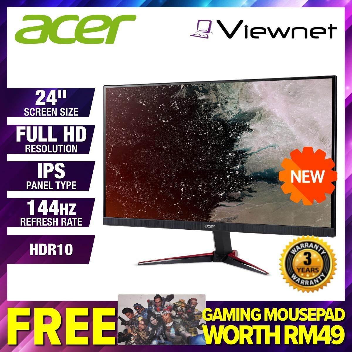 [NEW 2019] Acer Nitro VG240YP / VG240Y P 23.8  Full HD IPS 144Hz 1ms HDR10 Ready FreeSync LED Gaming Monitor (UM.HV1SM.P02) Dual HDMI 2.0, DisplayPort 1.2, Built-in Speaker, ZeroFrame, Display Widget OSD, VisionCare Malaysia