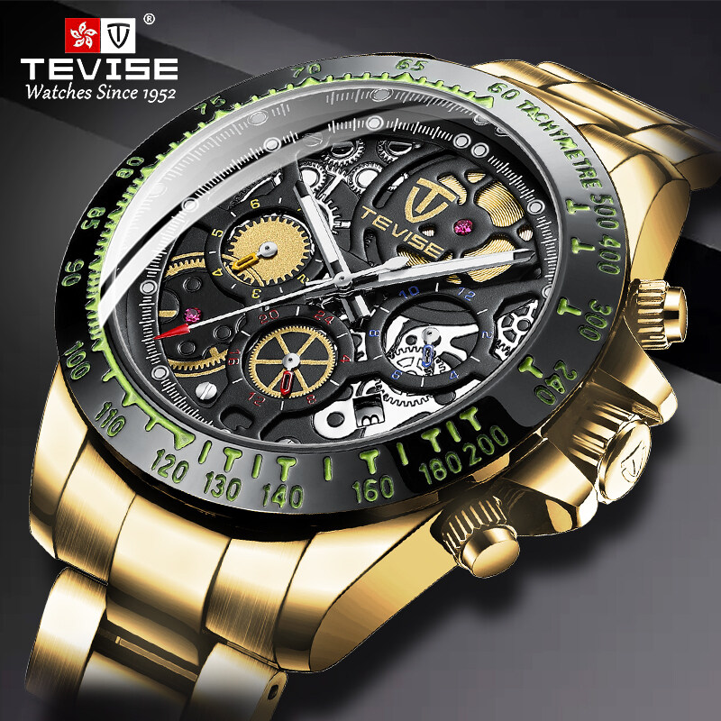 Mechanical brand TEVISE watches fashion stainless steel mens watches waterproof automatic mechanical watches gold mens watches, new style watches, diving watches, luxury watches, automatic watches, 863 Malaysia