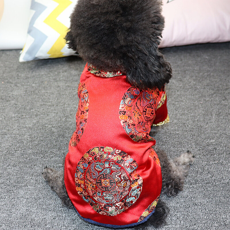 2020 New Year Pet Dog Clothes Tang Suit Chinese Style Dog Coat  Outfit Pet Costume Apparel Cheongsam Party Dog Clothing.