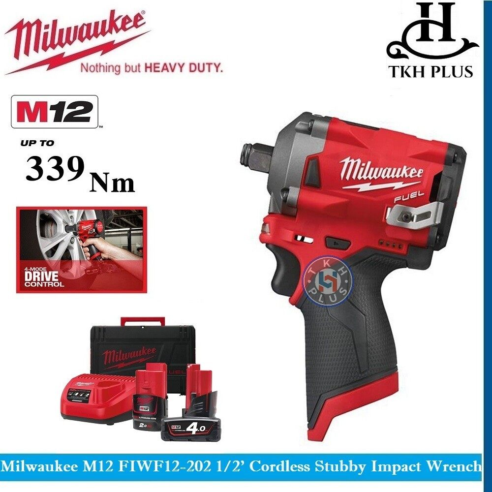 Milwaukee M12 FIWF12-202 1/2 Cordless Stubby Impact Wrench