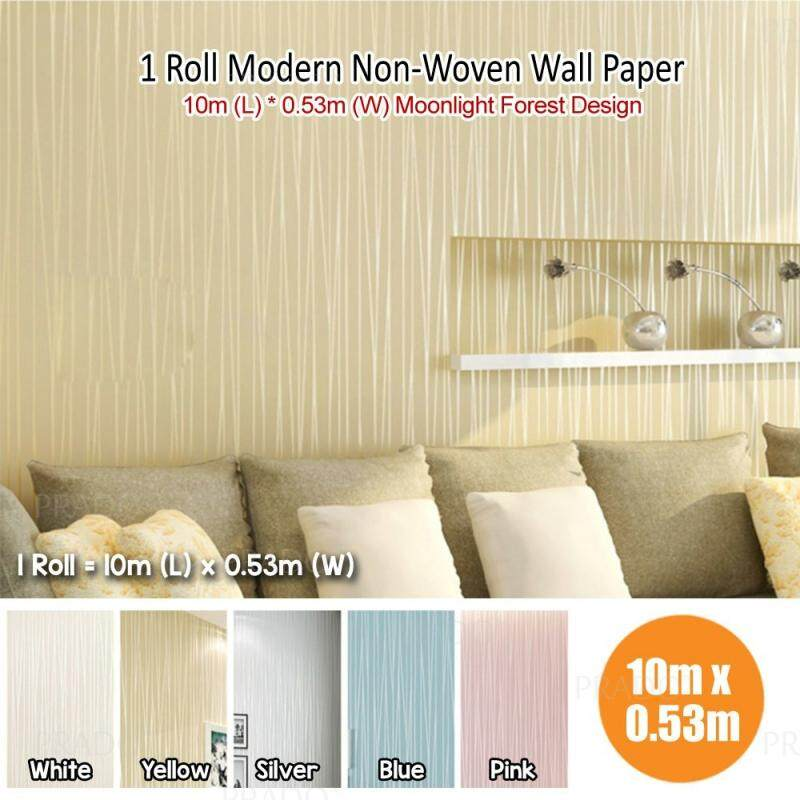 Prado Malaysia 10 Meter Long 3d Moonlight Forest Pattern Textured Modern Simple Eco Friendly Non Woven Flocking Wallpaper Wall Paper Roll Print
