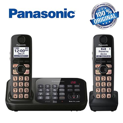 Panasonic พานาโซนิค Kx-Tg4741b แบบชาร์จ 2 โทรศัพท์มือถือ 1.9 Ghz Digital Dect 6.0 โทรศัพท์บ้านโทรศัพท์พื้นฐานโทรศัพท์ไร้สายพร้อมเครื่องตอบรับ.